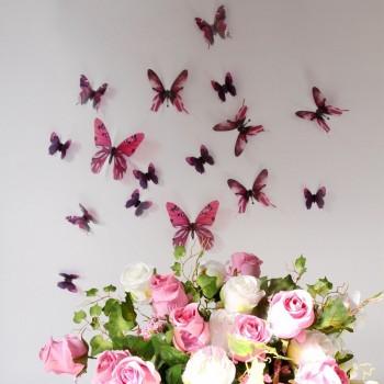 3D Élethű pillangó csomag - Rosé