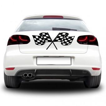 Autós matrica - Dupla zászló