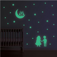 Foszforeszkáló matrica - Gyermek a hold alatt (csomag)