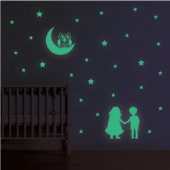 Fosforeskující nálepka svítící ve tmě - Dětí a měsíc