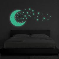 Foszforeszkáló matrica - Hold és csillagok