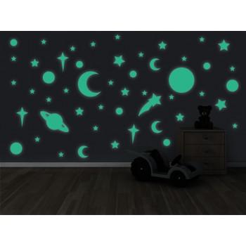 Fosforeskující nálepka svítící ve tmě - Vesmír