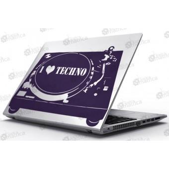 Laptop Matrica - I Love Techno