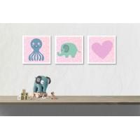 Többrészes vászonkép - Aranyos állatok kislányoknak