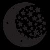 Fosforeskující nálepka svítící ve tmě - Měsíc a hvězdy
