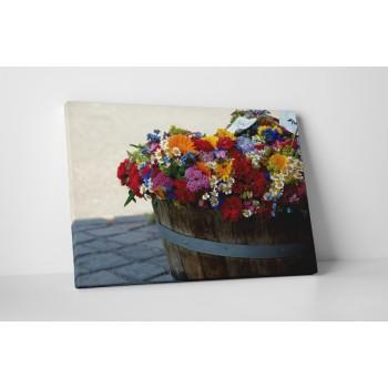 Barevný květiny v barelu