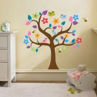 Színes levelű fa madarakkal