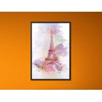 Eiffel torony - Fekete díszkeretes vászonkép - 40x60 cm - AKCIÓ!
