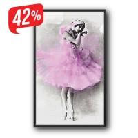 Balerina - Fekete díszkeretes - Vászonkép - 30x50 cm