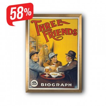 Three Friends - Arany díszkeretes vászonkép - 35x50 cm