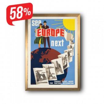 See Europe - Arany díszkeretes vászonkép - 35x50 cm