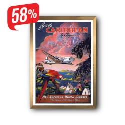 Fly to the Caribbiean - Arany díszkeretes vászonkép -35x50 cm