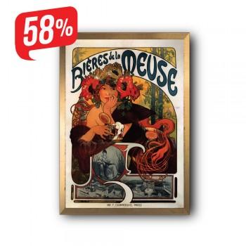 Bieres de la Meuse - Arany díszkeretes vászonkép - 35x50 cm