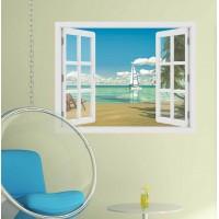 Trópusi tengerpart  - 3D hatású ablakos matrica