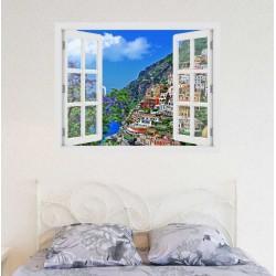 Positano, Olaszország - 3D hatású ablakos matrica