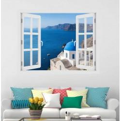 Santorini, Oia - 3D hatású ablakos matrica