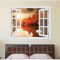 Hattyú a naplementében - 3D hatású ablakos matrica