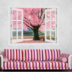 Rózsaszín fa - 3D hatású ablakos matrica