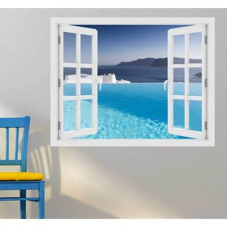 Kilátás az Égei tengerre - 3D hatású ablakos matrica