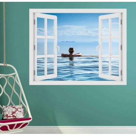 Pihenés a medencében - 3D hatású ablakos matrica